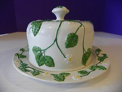 Italian Cheese/ butter dish with dome top floral design