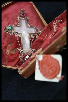 † Dnjc True Cross Relic Double Crystal Cross Sterling Reliquary Wax Seal + Case†
