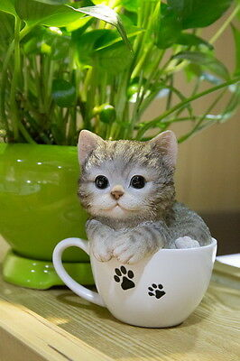 Grey Tabby Cat in a Cup Figurine Decoration Gift Resin5.75 in.New Kitten Teacup