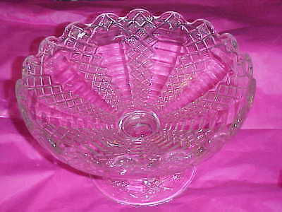 Antique Vintage Glass Crystal Large Compote Rippled Edges Beveled Bottom