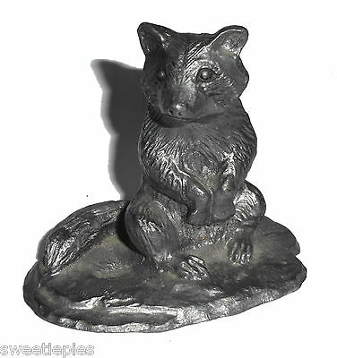 """Figurine, RACCOON, Handcrafted Pewter, 2-1/2"""""""