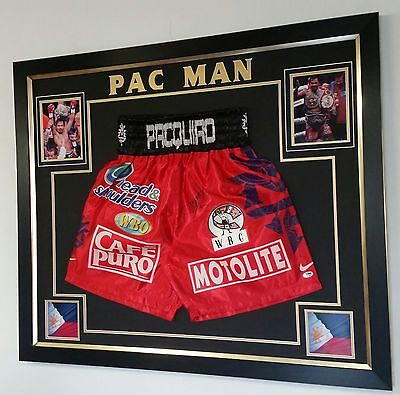 *** Rare Manny Pacquiao Signed boxing SHORTS TRUNKS Display ***