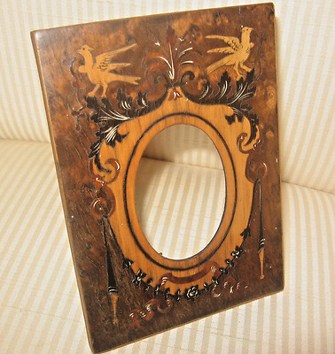1900c, INTRICATE Custom INLAID DESIGN Mixed Woods Picture Frame  ALL ORIGINAL