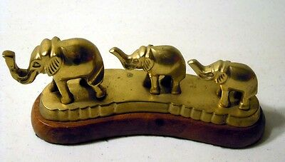 Vintage Three Brass Elephants on Wood Base
