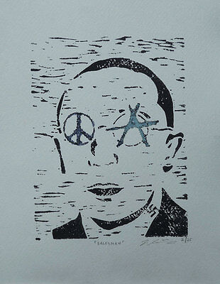"""Salesman"" Linoleum print on paper, limited edition of 25, signed and numbered"