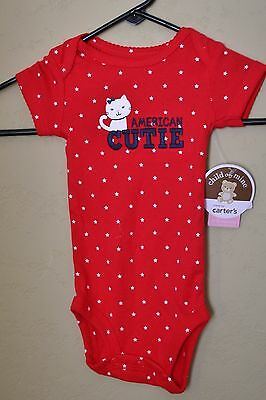 NEW Carters Kitty Cat Bodysuit Romper Girls 0-3M USA 4th July Red White Blue