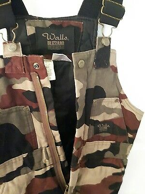 WALLS Blizzard Pruf camouflage ski pants insulated bib overalls youth 8-10
