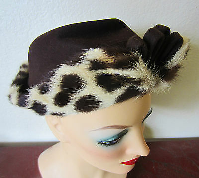 Vtg,Antique 1920s Leopard & Brown Wool,Art Deco Turban High Fronted Hat,Size 7.5