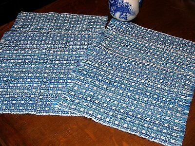 Set/Lot of 6 Vintage BLUE & WHITE WOVEN EUROPEAN Style Table Mats Placemats