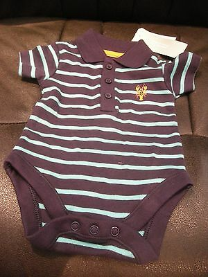 Boy's Blue Striped Bodysuit With Collar + Lobster Logo On Chest - Newborn - Bnwt
