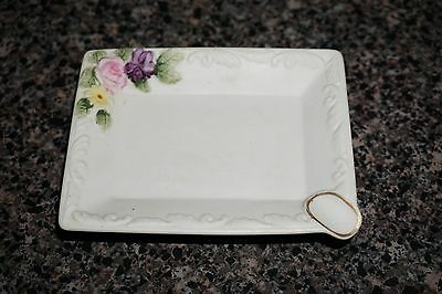 "Small Porcelain Bisque Floral  Lefton Ashtray Approx 4"" X 3"""