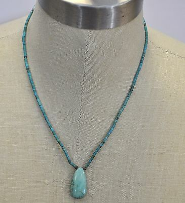 """Vintage Navajo Old Pawn Sterling Silver Beaded Turquoise Nugget Necklace 18"""""""