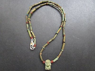 NILE  Ancient Egyptian FaienceI Isis  Amulet Mummy Bead Necklace ca 600 BC