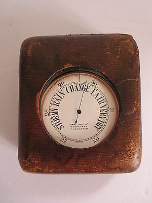 "Antique Victorian Era  Uk  3"" Pocket Barometer  With Case    Swiss Movements"