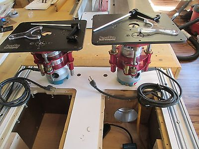 Dual Router with JessEm RoutRLifts FX  w/cabinet & wheal kit.(See description)