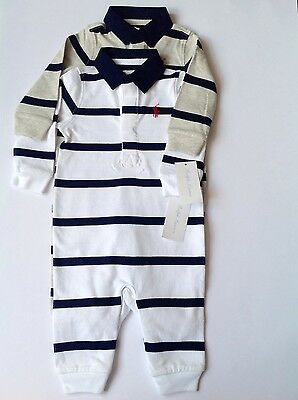 Ralph Lauren baby boys babygrow coverall striped 3-6,6-9,9-12m RRP£55