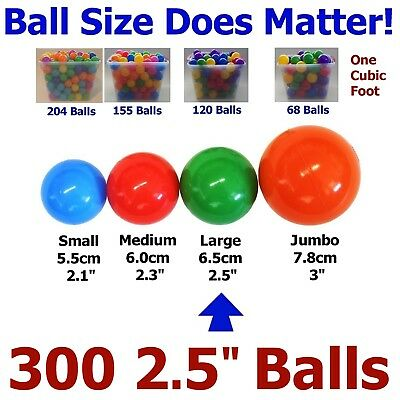 """My Balls 300 Large 2.5"""" Pit Ball Soft Air-Filled 5 Colors Phthalate Free Plastic"""