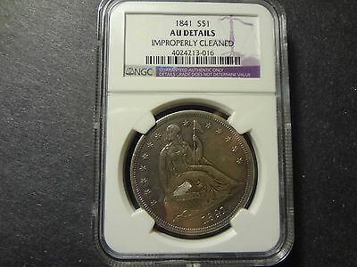 Us 1841 Silver Seated Dollar, Rare Date, Ngc Graded Au Details,