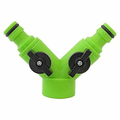 Garden Water Hose Pipe Two Way Shut Off Adapter Dual Hose Tap Connector Fitting