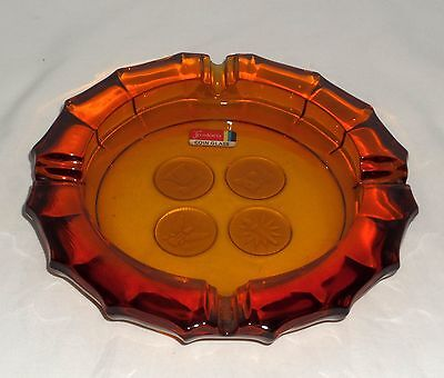 "Fostoria COIN FROSTED AMBER *7 1/2"" ROUND ASHTRAY w/STICKER*"