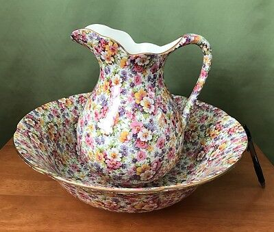 James Kent Pitcher Vase and Basin Bowl Server in  Du Barry Chintz China NEW