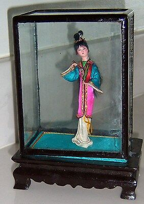 """CHINESE Asian 4"""" Doll In 6 Shadowbox Lacquered Glass Case Oriental 1980'S VTG"""