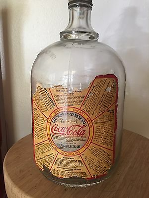 Antique Vintage Glass Coca Cola Syrup Jug with Paper Label c. 1930s