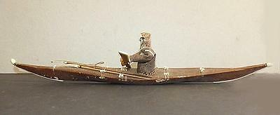 Antique Eastern Inuit Sealskin Covered Kayak With Tools & Figure - Vg Cond.
