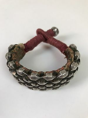 Antique Tribal Ethnic Rajasthan Silver Bead Bracelet Indian Cuff