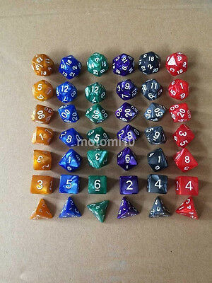 6 Color Marbling Solid Polyhedral Role Playing Game(RPG) 7 Dice Set D&D UK