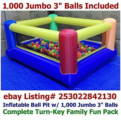 1000 Jumbo Balls Included My Bouncer Perfect Little Inflatable Ball Pit Fun Pack