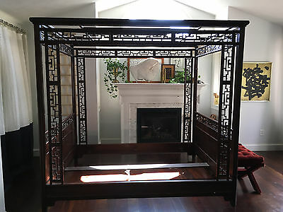 Vtg Mid Century/ Baker Chinese Chippendale Wedding Canopy Bed  -Greek Key