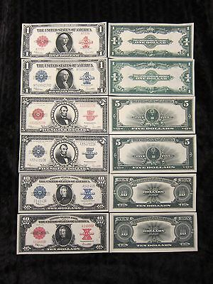 Series 1923 Red & Blue Seal Copy Reprints,some Silver novelty notes included