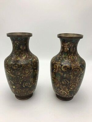 A Pair Of 19th Chinese Cloisonne Vases