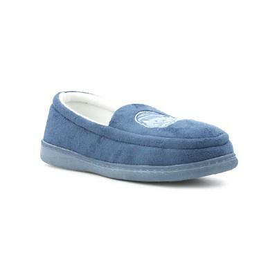 The Slipper Company - Womens Blue Embroidered Cat Moccasin Slipper
