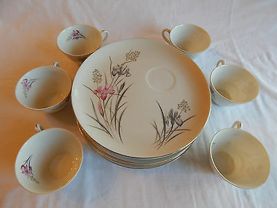 BUFFETT PLATE & TEA CUP: set of 6, floral print, Japan