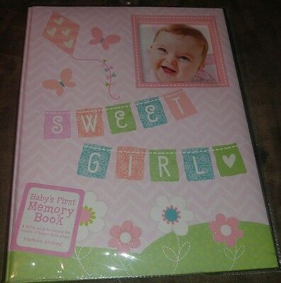 New C.R. Gibson Sweet Girl Flowers Baby's First Memory Record Baby Book Pink