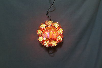 Christmas Decor - Hanging Wreath w 9 Star & 3 Candle Lights Mirror Gold Tinsel