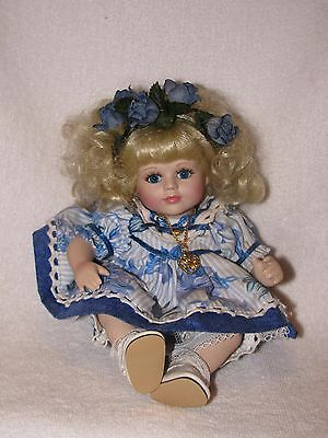 """9"""" Marie Osmond Precious Tiny Tots Porcelain Doll 1999 With Blonde Curly Hair"""
