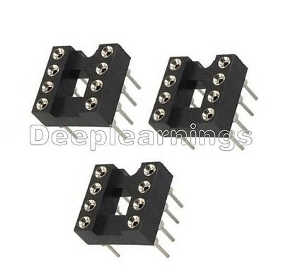 10PCS 8Pin DIP SIP Round IC Sockets Adaptor Solder Type plated machined