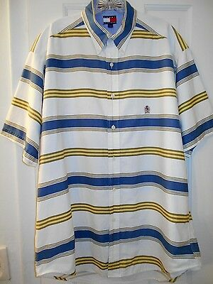 Vtg 1990s Men TOMMY HILFIGER Blue Ivory Yellow Striped Embroidered Crest Shirt~L