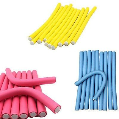 10x Bendy Flexible Foam Hair Rollers Curlers Waves Soft Tool Salon Hairdressing