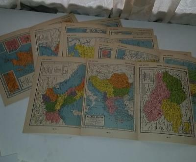 vintage paper ephemera lot 32 pages 21 full color World maps 1950's Encyclopedia