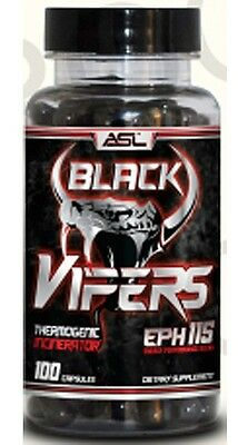 ASL Anabolic Science Labs Black Vipers 100 Caps Fat Burner mamba Caffeine cats