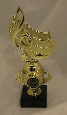 Music Notes Trophy on Mini Gold Cup 215mm Engraved FREE
