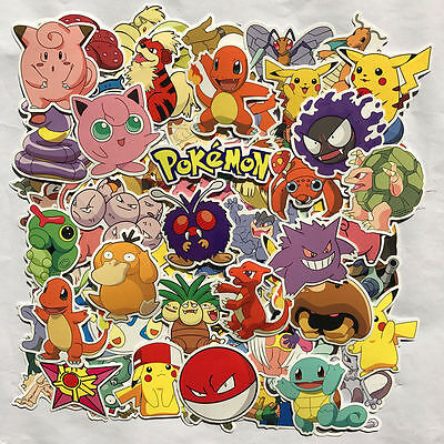 80Pcs POKEMON GO Pikachu Cartoon Sticker Skateboard Laptop Sticker Luggage Decal