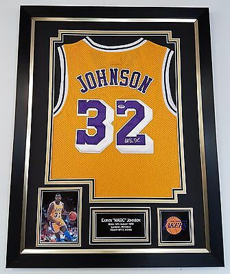 ** Rare MAGIC JOHNSON Signed Shirt JERSEY LA LAKERS Autograph DISPLAY ***