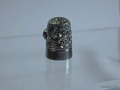 Unique Antique English Sterling Silver Thimble With Memento Mori Skulls-1907