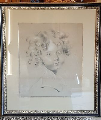 19th Century Charcoal and Chalk Drawing, Portrait Of A Young Boy