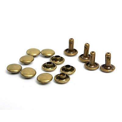 100x Remaches Laton Color Bronce Oro Viejo 8 mm Cuero Tela Guarnicioneria 4570or